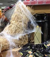 Haybales, webs, pumpkins, candles & lanterns