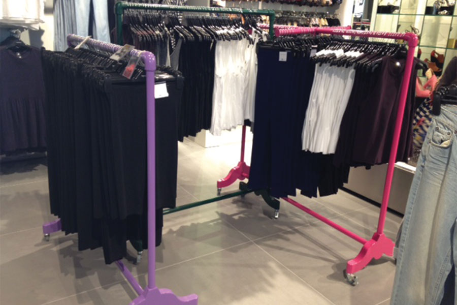 Our Coloured Garment Rails in Topshop, Abu Dhabi.